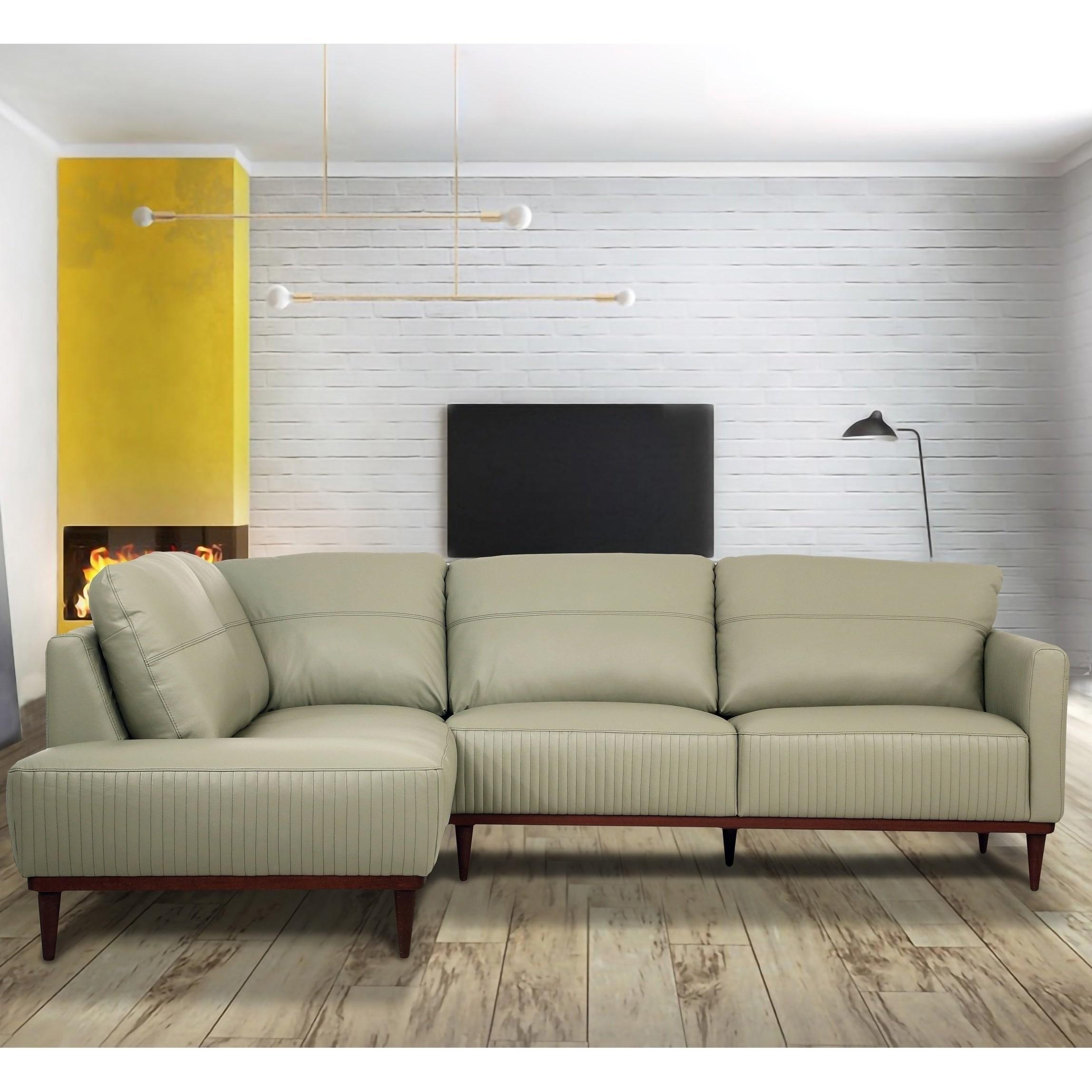 - Shop Carson Carrington Ullberga Airy Green Leather Sectional Sofa