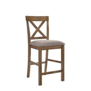 ACME Martha II Counter Height Chair (Set of 2) in Tan Linen and Weathered Oak