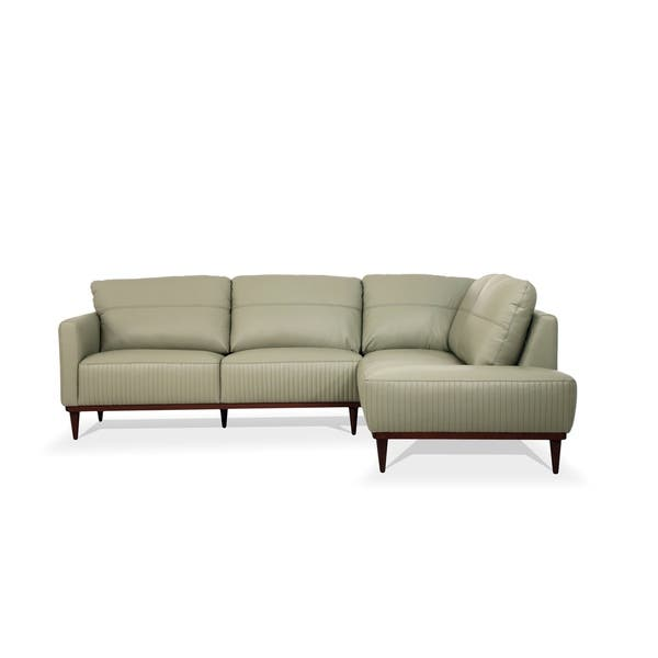 Shop ACME Tampa Sectional Sofa in Airy Green Leather - Free ...