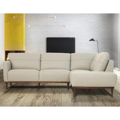 Carson Carrington Ullberga Pearl Gray Leather Sectional Sofa