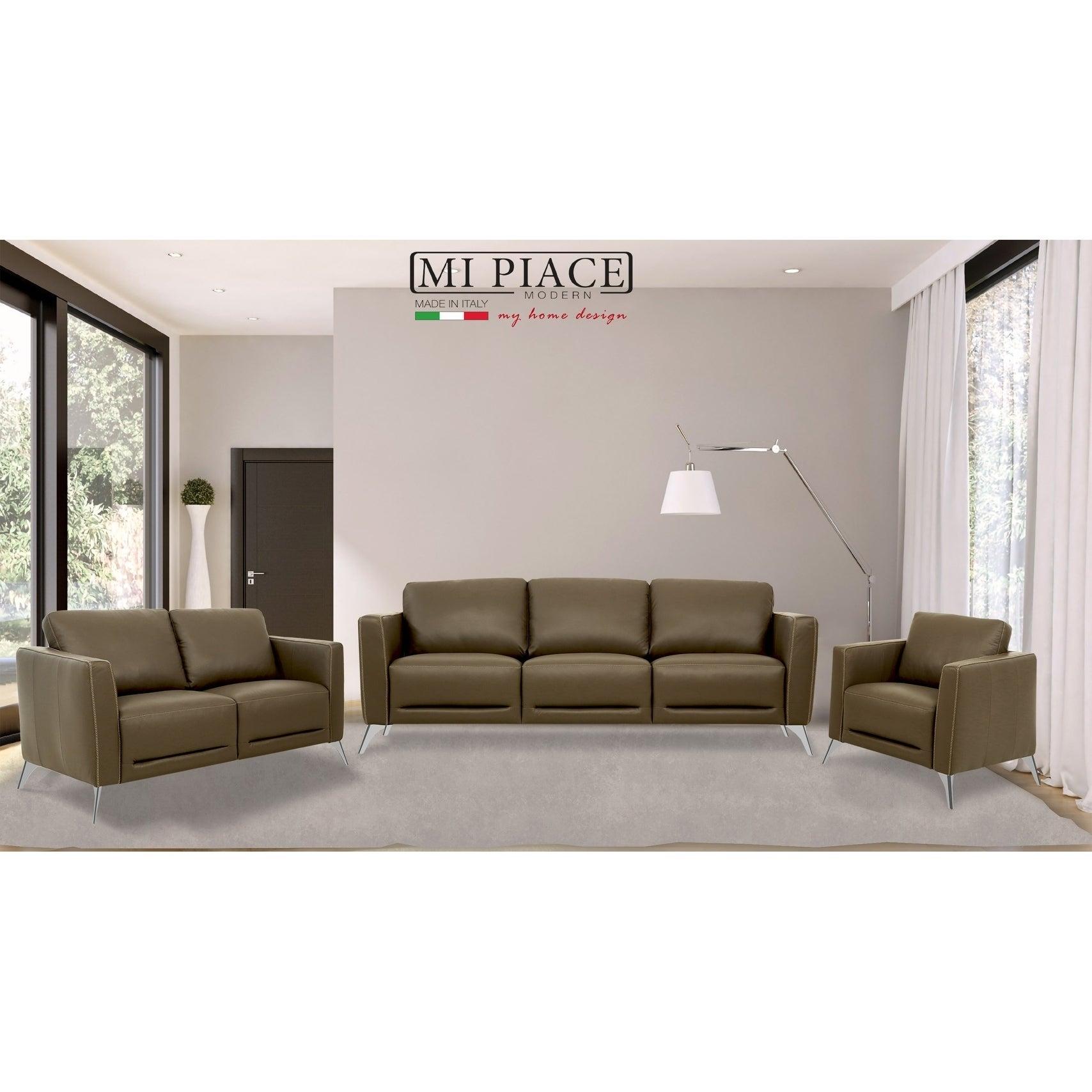 Bolton Muska Taupe Leather Sofa