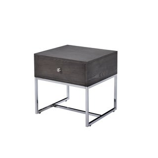 ACME Iban End Table in Gray Oak and Chrome