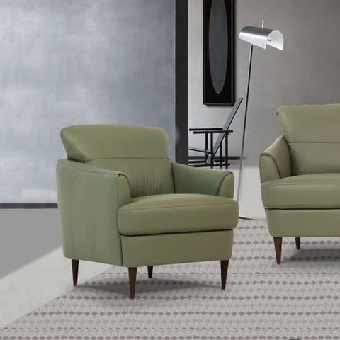 Carson Carrington Ullberga Moss Green Leather T-shaped Chair