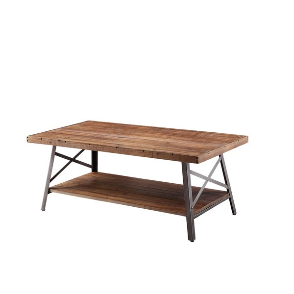 ACME Ikram Coffee Table in Weathered Oak and Sandy Black