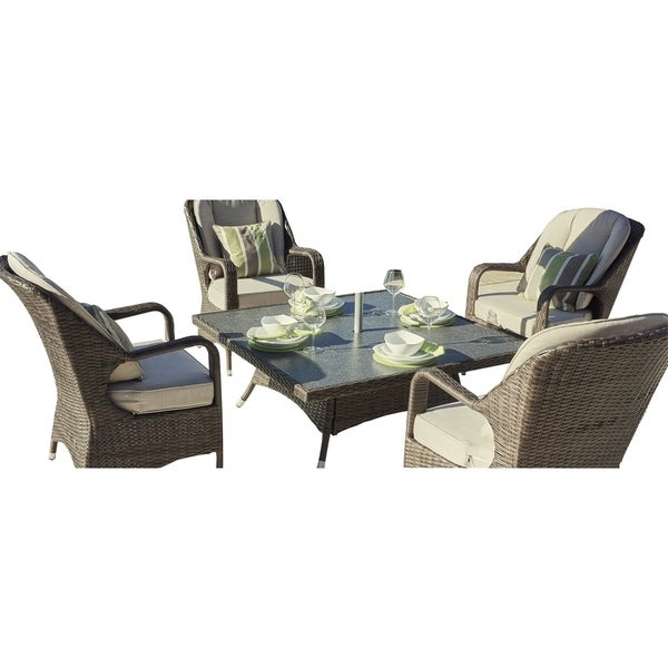 Shop 5 Piece Wicker Square Fire Pit Table With Chairs