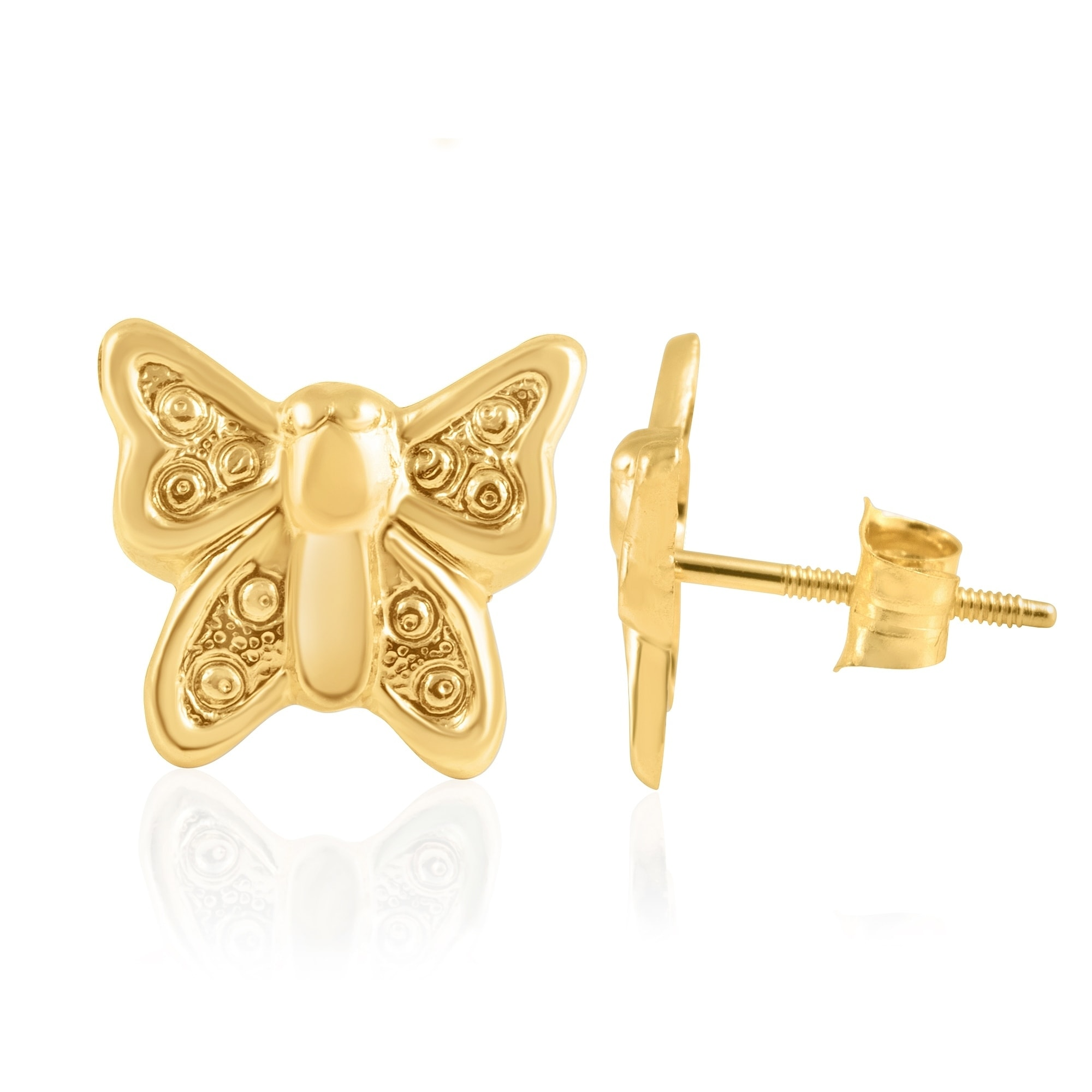 bddce068c Shop 14KT Yellow Gold Teddy Bear Children's and Baby Girls Stud Earrings -  Charming with Secure Screw Back Safety Closure - Free Shipping Today -  Overstock ...