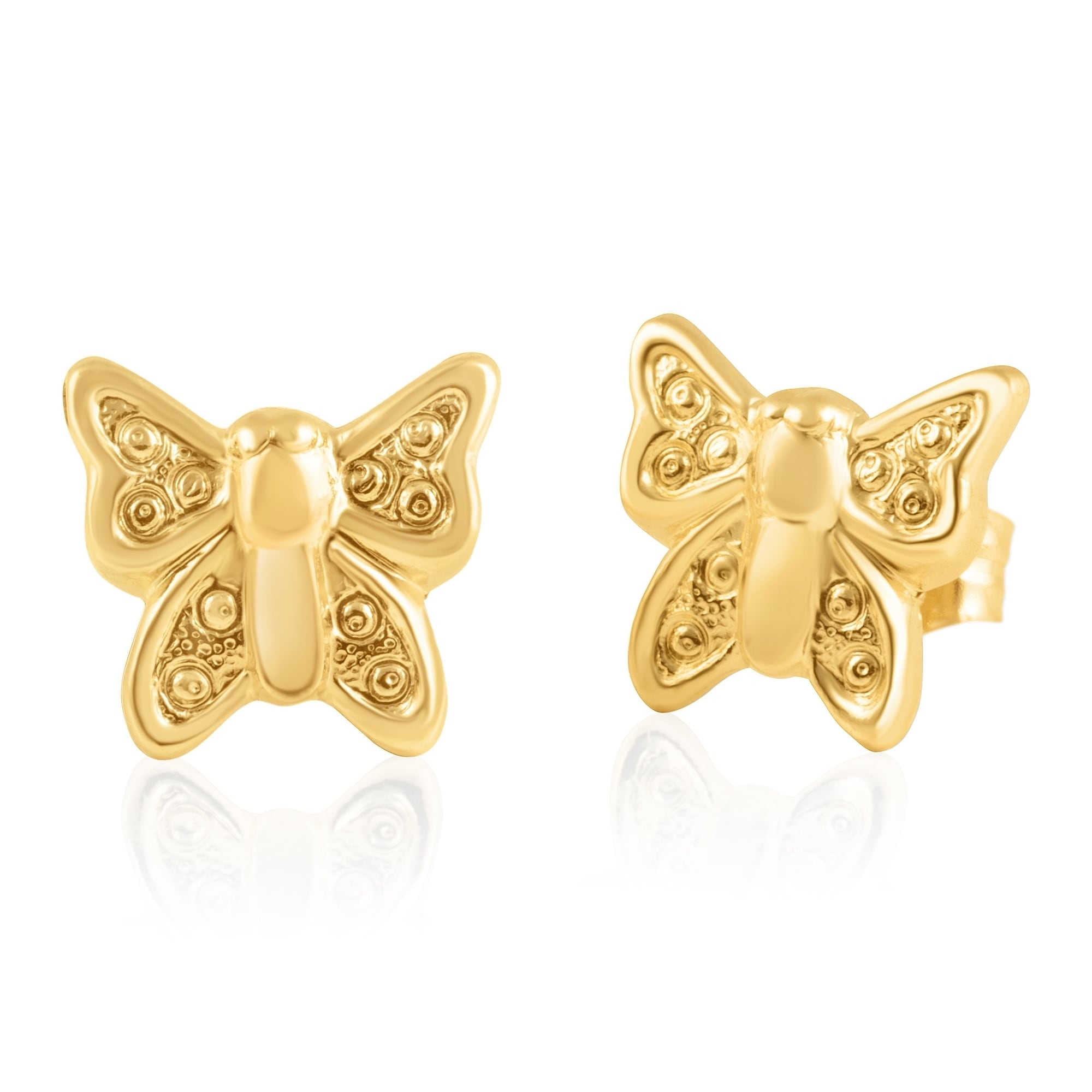 a83f7df55 Shop 14KT Yellow Gold Teddy Bear Children's and Baby Girls Stud Earrings -  Charming with Secure Screw Back Safety Closure - Free Shipping Today -  Overstock ...