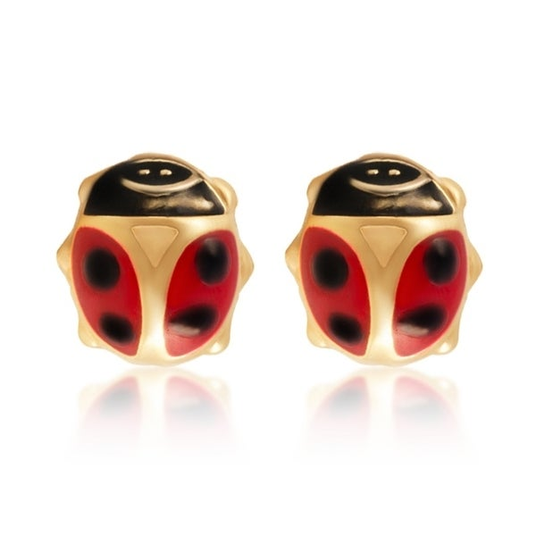 8e8b810e3 14KT Yellow Gold Small Lady Bug Children's and Baby Girls Stud Earrings