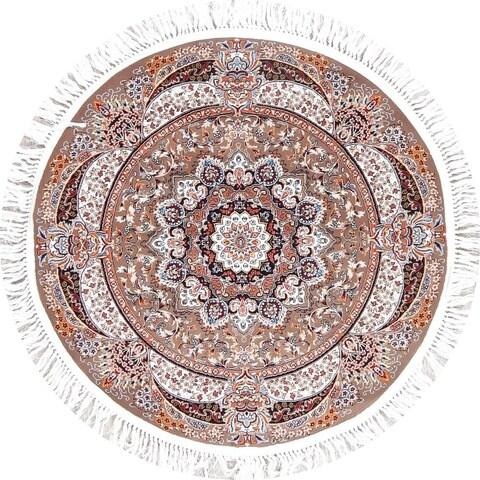 Copper Grove Kilingi Heat-set Floral Wool/ Acrylic Rug - 3'3 Round