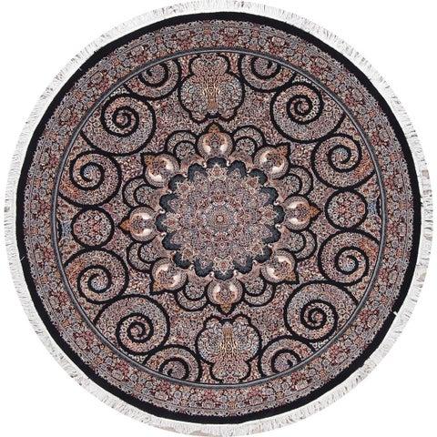 Copper Grove Paide Heat-set Black Oriental Acrylic/ Wool Area Rug - 6'6 Round