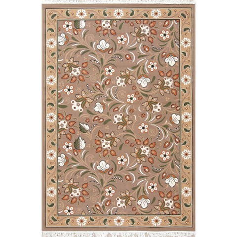 "Gracewood Hollow Vidart Jute Blend Floral Turkish Area Rug - 7'5"" x 4'11"""