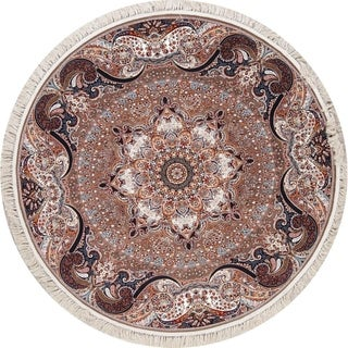 """Copper Grove Haukipudas Heat-set Floral Wool/ Acrylic Area Rug - 6'7"""" x 6'7"""" Round"""