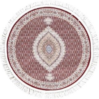 "Tabriz Geometric Wool Acrylic Heat-Set Turkish Oriental Rug - 3'3"" x 3'3"" Round"
