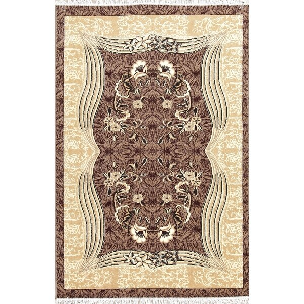 """Copper Grove Tarm Modern Floral Contemporary Polyester Jute Turkish Oriental Area Rug - 7'0"""" x 5'4"""""""