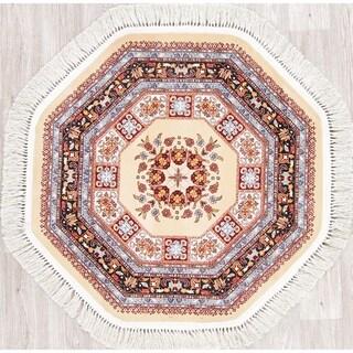 "Gracewood Hollow Kobyl Floral Wool Blend Octagonal Rug - 3'3"" x 3'3"" Octagon"