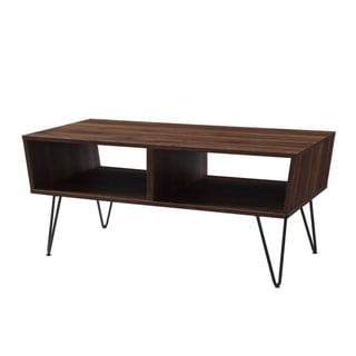 "42"" Angled Coffee Table with Hairpin Legs - Dark Walnut"