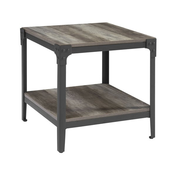 5452d5d60c7 Shop Angle Iron Rustic Wood End Table