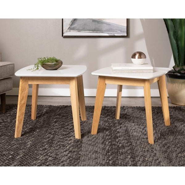 Retro Modern Solid Wood Legs and Painted MDF Top End Table, Set of 2 - White/Natural