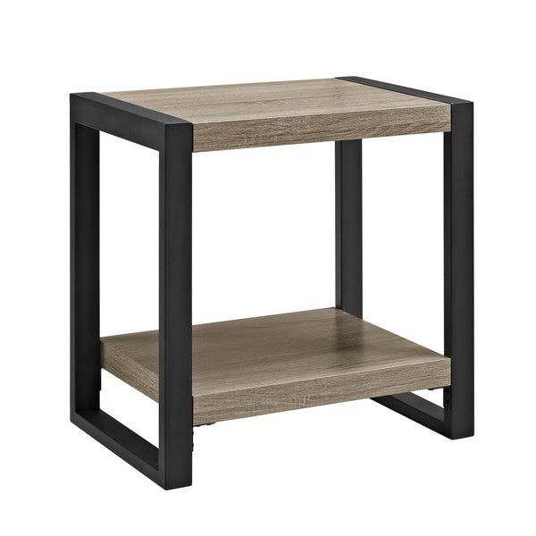"24"" Living Room Wood Metal Side End Table - Driftwood"