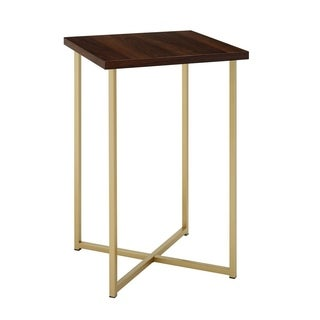 """16"""" Square Side Table with Dark Walnut Top and Gold Legs"""