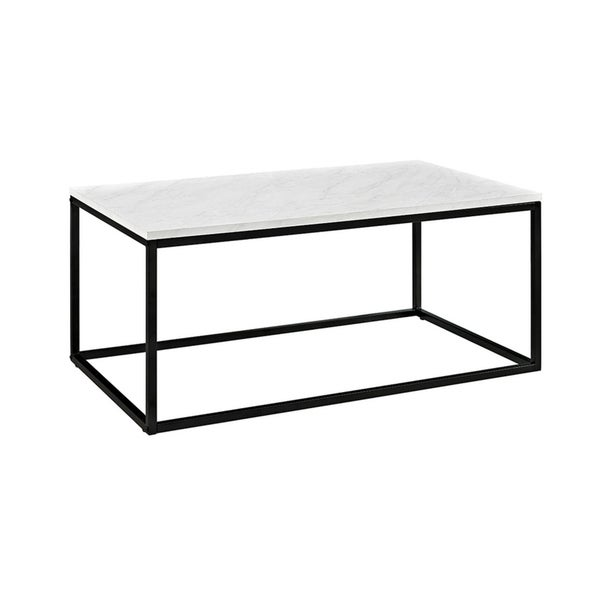 """42"""" Sleek Contemporary Mixed Material Coffee Table - Marble"""