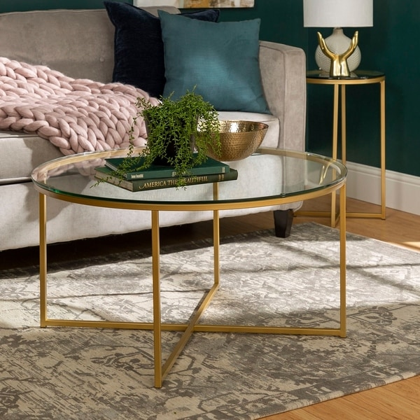 Shop 2 Piece Round X Base Coffee And Side Table Set