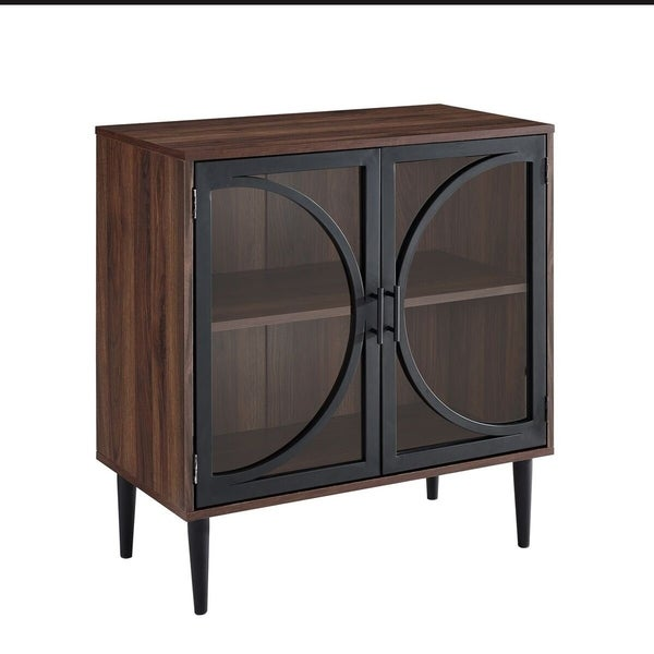 """Shop 30"""" Metal Door Accent Console With Tempered Glass"""