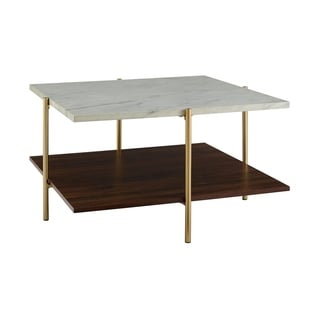 """32"""" Mid Century Simone Square Coffee Table - Marble and Gold"""
