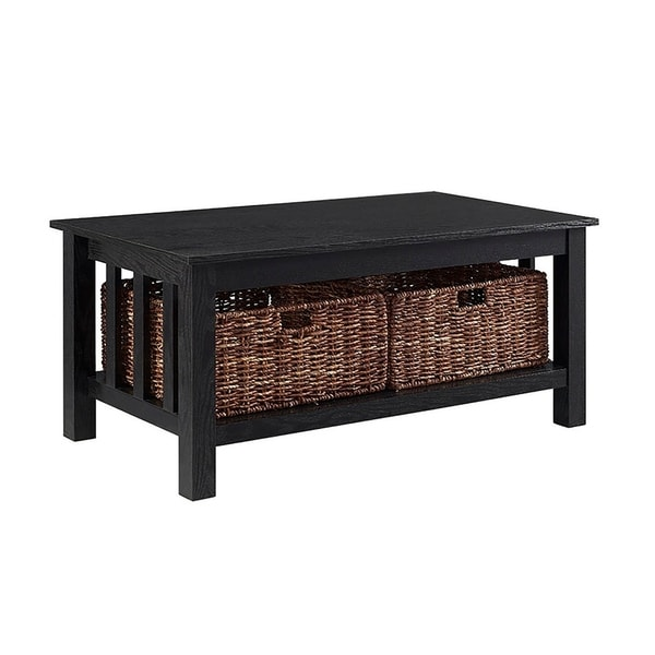 "Black Wicker Coffee Table: Shop 40"" Wood Storage Coffee Table With Wicker Totes"
