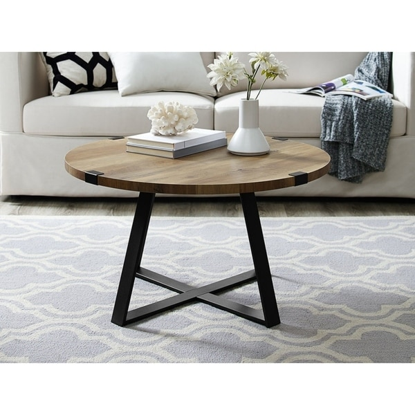 "Black Oak Round Coffee Table: Shop 30"" Urban Industrial Style Metal Wrap Round Coffee"