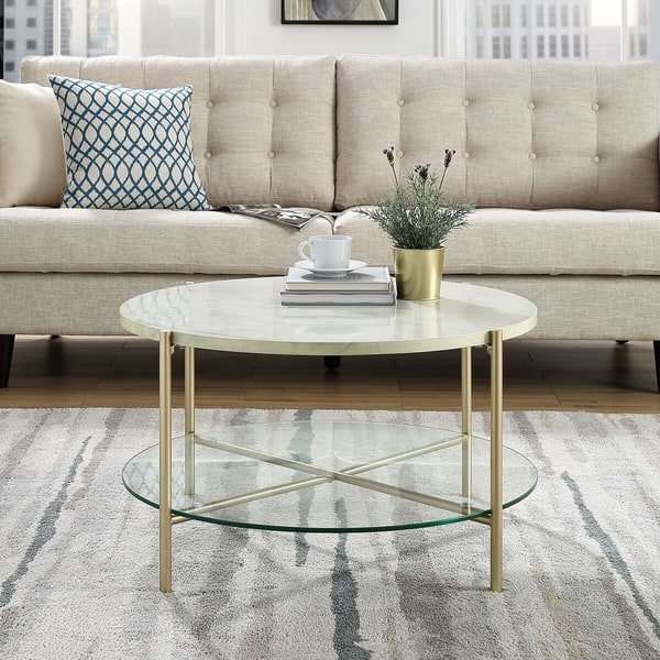 Shop 32 Round Coffee Table With White Marble Top Glass Shelf And