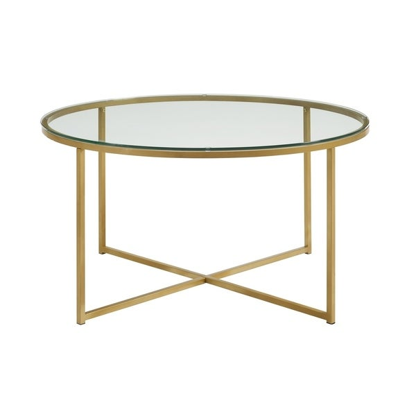 "36 Inch Round Glass Coffee Table: Shop 36"" Round Glass Coffee Table With Metal X-Base"