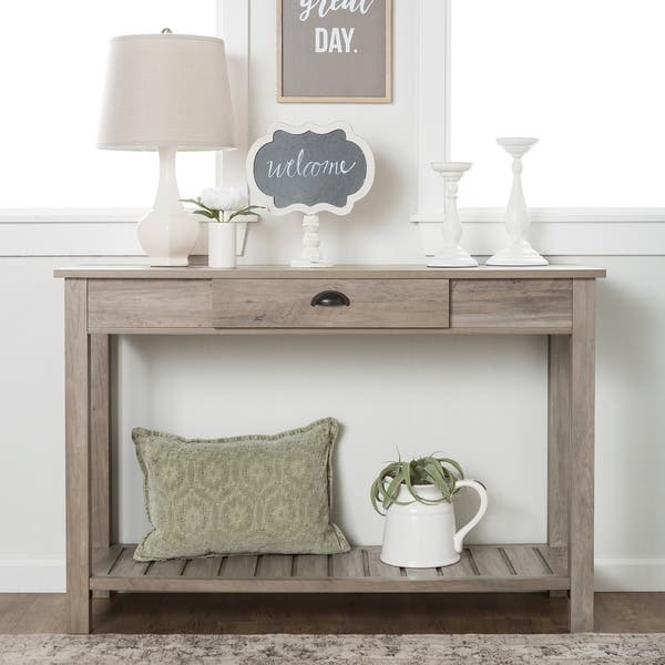 Fabulous Shop Grey Wash 48 Inch Country Style Entry Console Table Dailytribune Chair Design For Home Dailytribuneorg