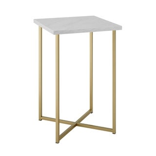 "16"" Glam Accent Square Side Table with White Marble Top and Gold Legs"