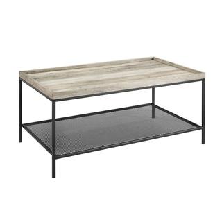 Rustic Industrial Coffee Table with Metal Mesh Lower Shelf - Grey Wash