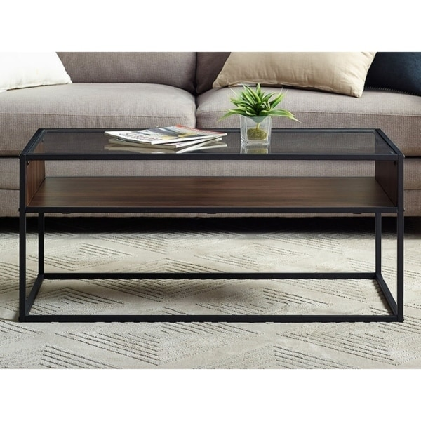 "Glass And Metal Coffee Table With Shelf: Shop 40"" Metal And Glass Coffee Table With Open Shelf"