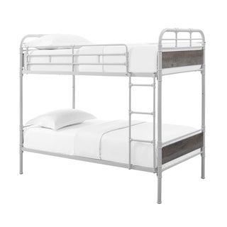 Kids Twin over Twin Metal Pipe Wood Bunk Bed - White and Grey Wash