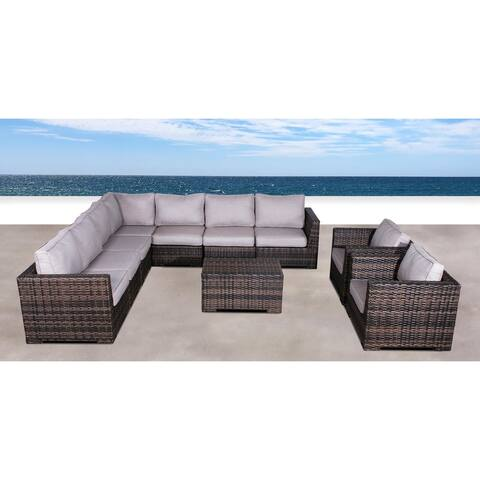 Double Club 10 Piece Sectional Set with Cushions