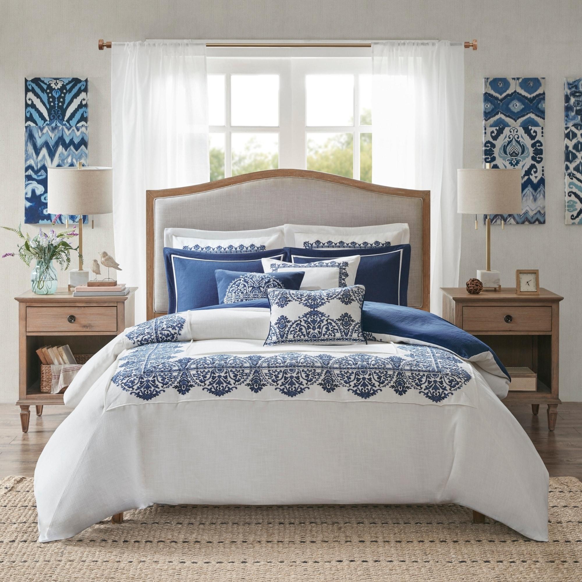 Shop Black Friday Deals On Madison Park Signature Indigo Sky White Blue Comforter Set On Sale Overstock 27800090