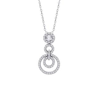 14K White Gold 1 3ct TDW Diamond Graduated Circular Pendant G H I2