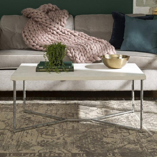 Shop 42 Quot Mid Century Modern Y Leg Coffee Table White