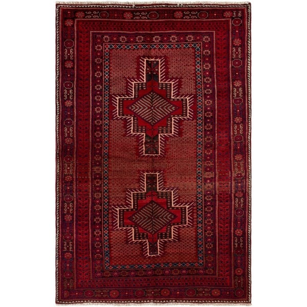 eCarpetGallery Hand-knotted Afshar Red Wool Rug - 4'8 x 7'5