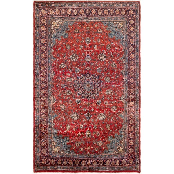 eCarpetGallery Hand-knotted Mahal Red Wool Rug - 6'6 x 10'9