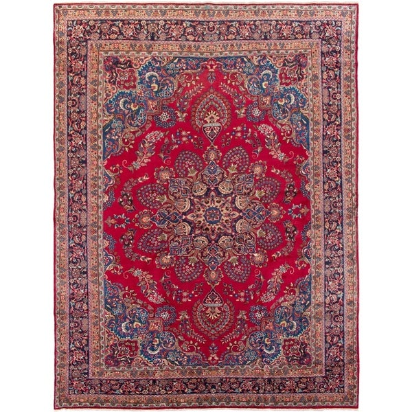 eCarpetGallery Hand-knotted Sabzevar Red Wool Rug - 9'8 x 13'0
