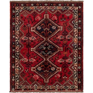 eCarpetGallery  Hand-knotted Shiraz Red Wool Rug - 4'11 x 6'3