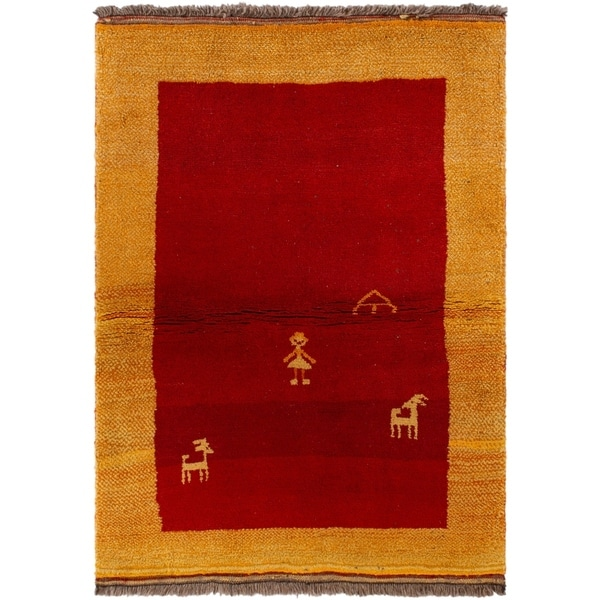 eCarpetGallery Hand-knotted Persian Gabbeh Red Wool Rug - 3'8 x 5'0