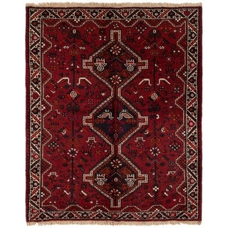 eCarpetGallery  Hand-knotted Shiraz Red Wool Rug - 5'2 x 6'6
