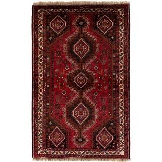eCarpetGallery  Hand-knotted Shiraz Qashqai Red Wool Rug - 3'7 x 5'10