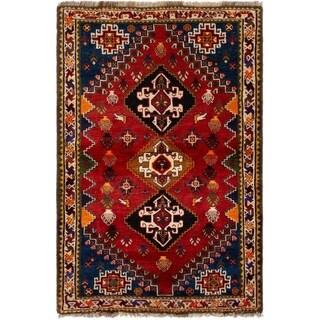 eCarpetGallery  Hand-knotted Shiraz Qashqai Red Wool Rug - 3'8 x 5'8
