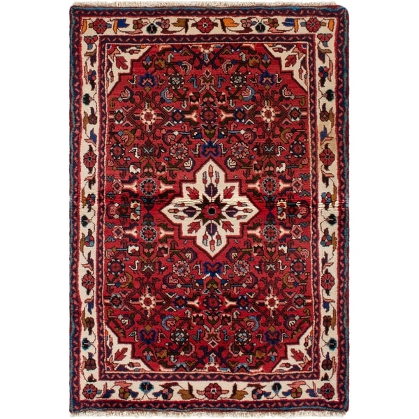 eCarpetGallery Hand-knotted Hamadan Red Wool Rug - 3'3 x 5'2